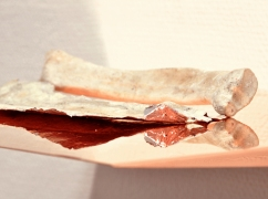 Caput Mortuum II (I). Detail view. oil paint on aluminum foil, bone, copper, light.