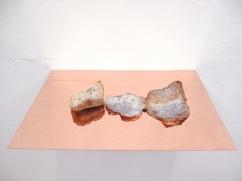 Caput Mortuum II (II). oil paint on aluminum foil, bread, copper, light. 45 x 31 x 6 cm, 2011
