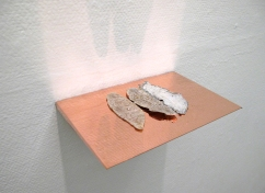 Caput Mortuum II (IV). Caput Mortuum II (IV). oil paint on aluminum foil, weathered piece of fiberglass, copper, light. 23 x 15.5 x 3 cm, 2012