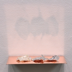Caput Mortuum II (V). oil paint on aluminum foil, sea shell, copper, light. 23 x 13.5 x 5 cm, 2012