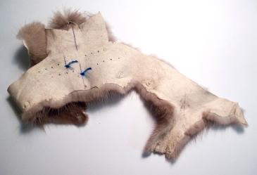 """fur and markings, oil paint on leather, 10""""x6"""", 2012"""