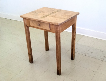 Superstratum (Table). oil paint, black tape, found table (at Artscape Gibraltar Point, Toronto Island).approx. 60 x 50 x 70 cm2012