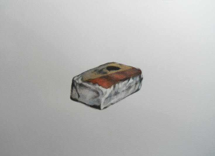 """Objects in Soviet Films (One Object: Cheese), watercolour on paper, 12"""" x 9"""", 2017"""