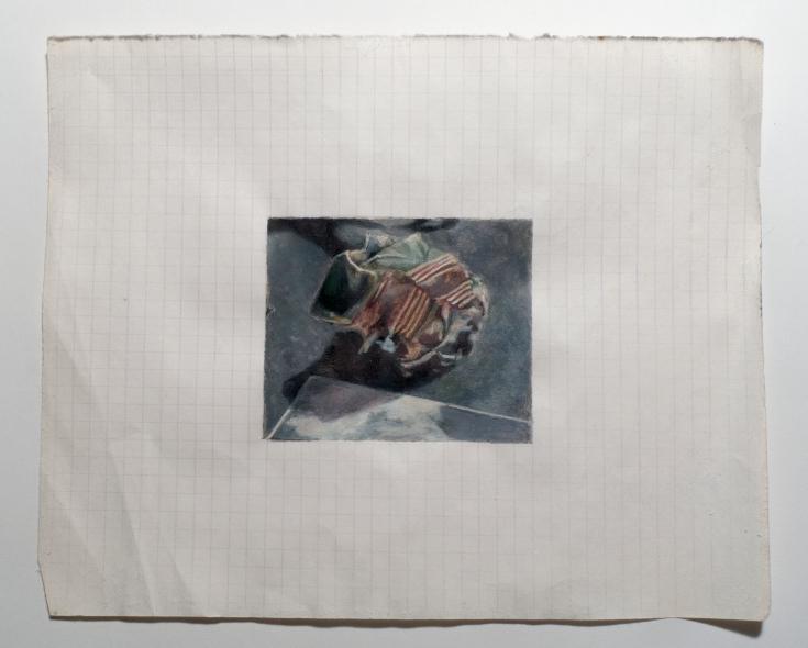 "Objects in Soviet Films 7, 2018, watercolor on found Belorussian paper, Paper: 8 "" x 6 ½ "", Image: 3 "" x 2 ½ ""."