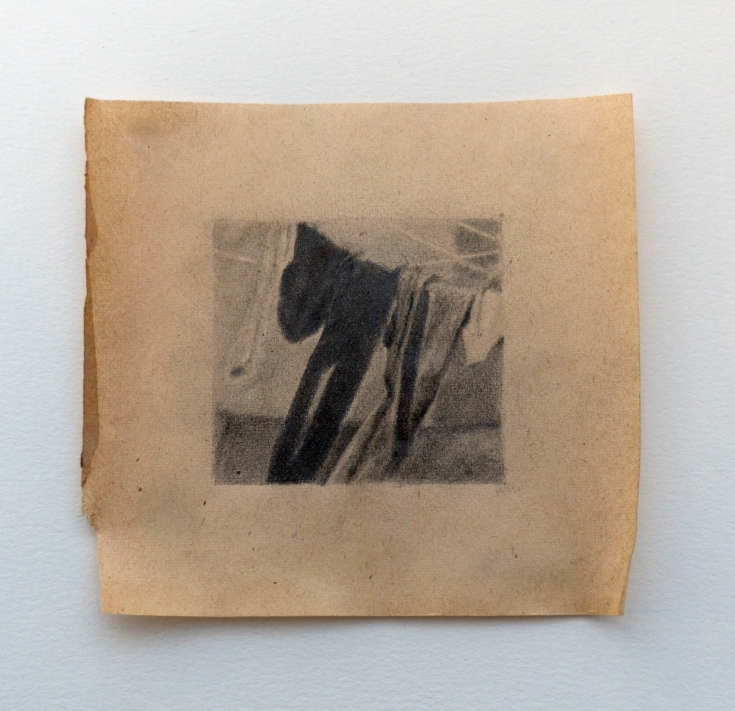 """Objects in Soviet Films 2, 2018, graphite on found paper, Paper: 4"""" x 4"""", Image: 2"""" x 2"""""""