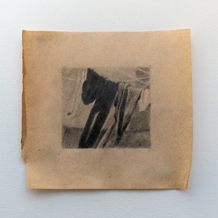 "Objects in Soviet Films 2, 2018, graphite on found paper, Paper: 4"" x 4"", Image: 2"" x 2"""
