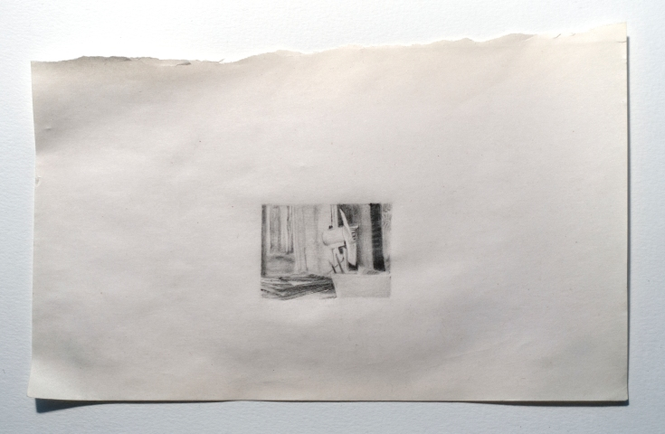 """Objects in Soviet Films 2, 2018, graphite on found paper, Paper: 7"""" x 4.5"""", Image: 1.5"""" x 1"""""""