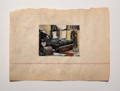 """Objects in Soviet Films 4, 2018, watercolor on found paper, Paper: 7 ¾ """" x 5 ½ """", Image: 3 ¼ """" x 2 ½ """"."""