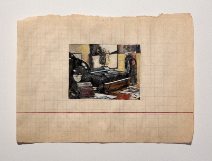 "Objects in Soviet Films 4, 2018, watercolor on found Belorussian paper, Paper: 7 ¾ "" x 5 ½ "", Image: 3 ¼ "" x 2 ½ ""."