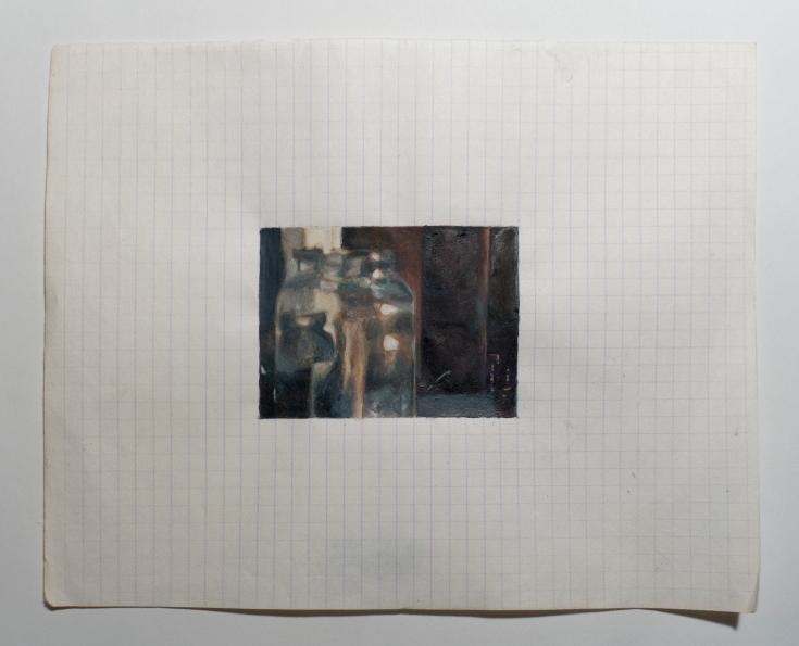 "Objects in Soviet Films 6, 2018, watercolor on found Belorussian paper, Paper: 8 "" x 6.5 "", Image: 3 "" x 2.25 """