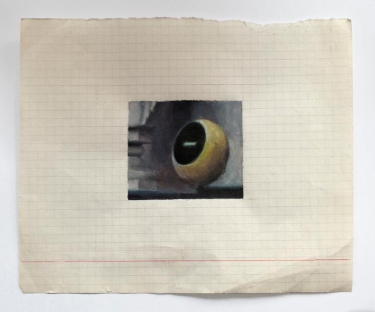 "Objects in Soviet Films 8, 2018, watercolour on found Belorussian paper, Paper: 8"" x 6.5"", Image: 3.25"" x 2"""