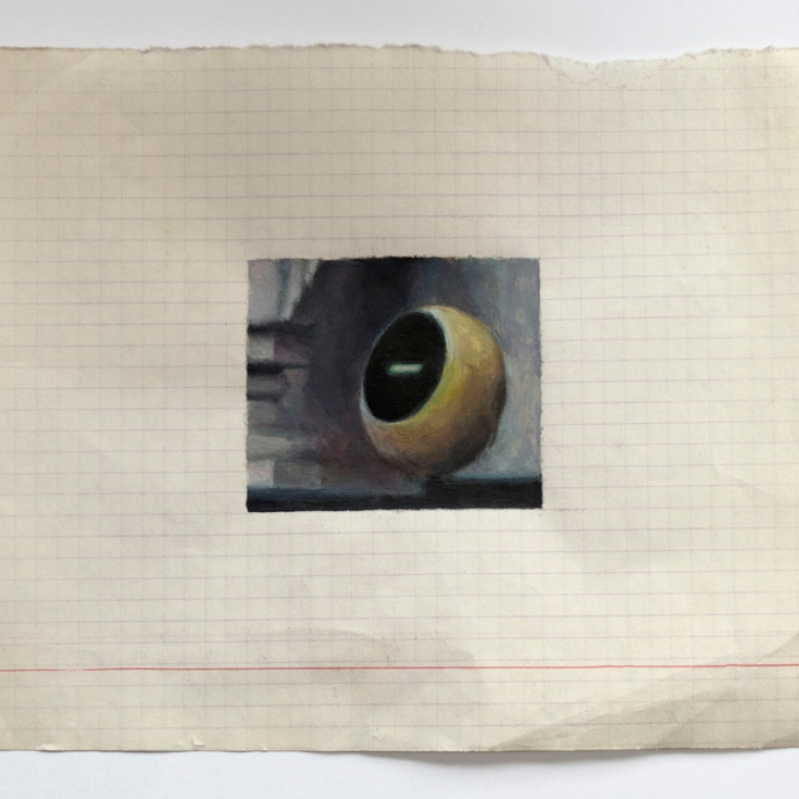 "Objects in Soviet Films 8, 2018, watercolour on found Belorussian paper, Paper: 8"" x 6.5"", Image: 3.25"" x 2"""