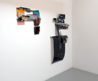 Obraz, Obrez, Ostatok (1 & 2), 2020, Soviet-era objects and materials, inkjet prints on paper and clear fillm. Installation view.