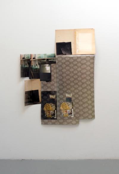 "Obraz, Obrez, Ostatok (3), 2020, 4' x 5.5' x 4"", Soviet-era objects and materials, inkjet prints on paper and clear fillm."
